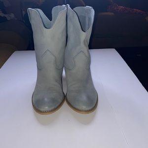Crown Vintage Leather Cowboy Boots 8.5 Light Blue